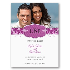 Filigree Monogram - Amethyst - Save the Date Card