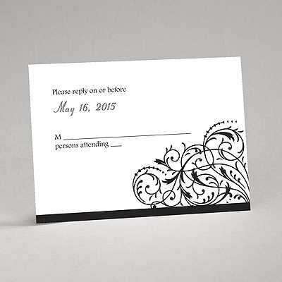 Fanciful Filigree - Black Response Card and Envelope