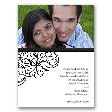Fanciful Filigree - Black Save the Date Card
