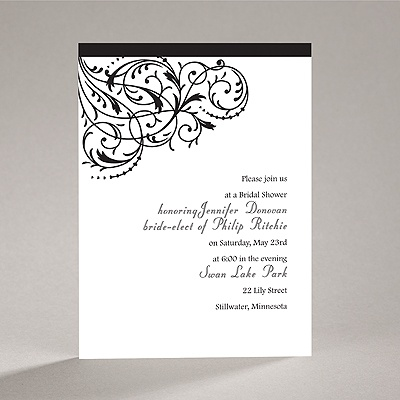 Fanciful Filigree - Black Bridal Shower Invitation