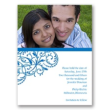 Fanciful Filigree - Blue Save the Date Card