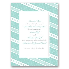 Swirls and Stripes - Aqua - Save the Date Card