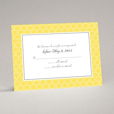 Swirls and Stripes - Yellow - Response Card and Envelope