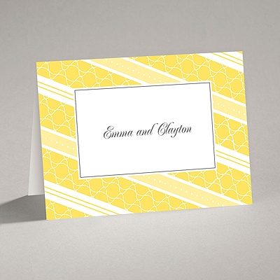 Swirls and Stripes - Yellow - Thank You Card and Envelope