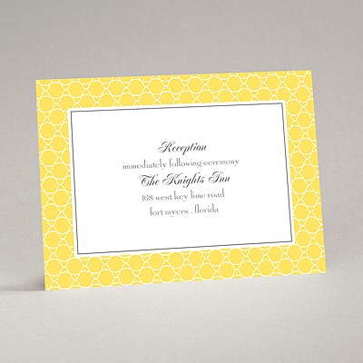 Swirls and Stripes - Yellow - Reception Card