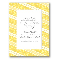Swirls and Stripes - Yellow - Save the Date Card