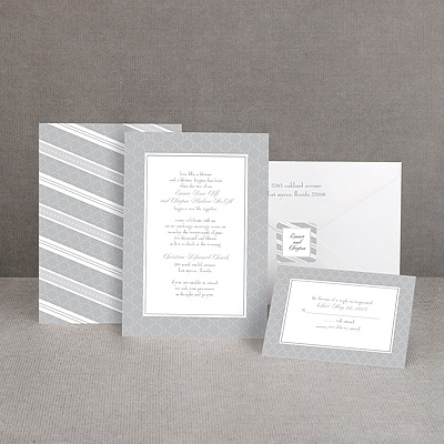 Swirls and Stripes - Grey - Invitation