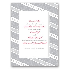 Swirls and Stripes - Grey - Save the Date Card