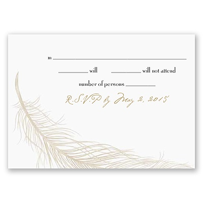 Fanciful Feather - Champagne Response Card and Envelope