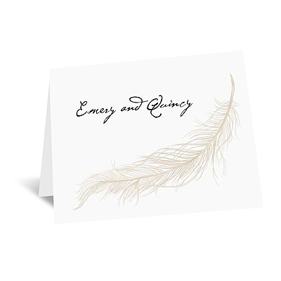 Fanciful Feather - Champagne Thank You Card and Envelope