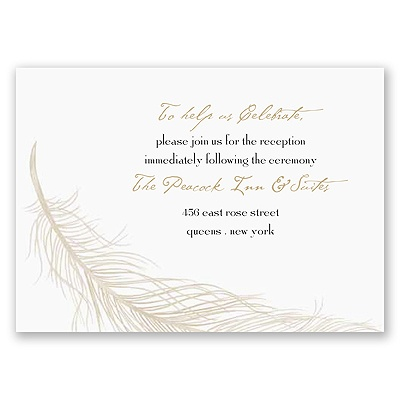 Fanciful Feather - Champagne Reception Card