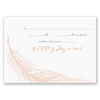 Fanciful Feather - Pink Response Card and Envelope