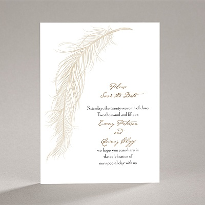 Fanciful Feather - Champagne Save the Date Card