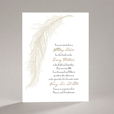 Fanciful Feather - Champagne Bridal Shower Invitation
