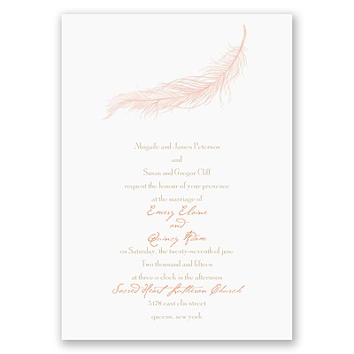 Fanciful Feather - Pink Invitation