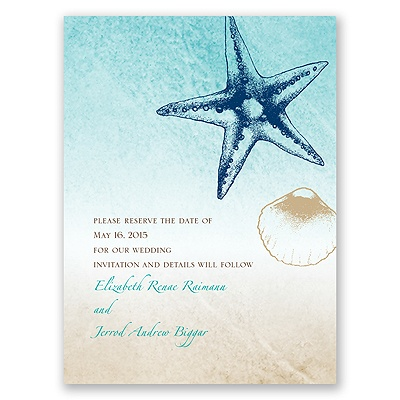 Beach Romance - Champagne - Save the Date Card