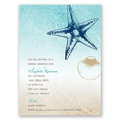 Beach Romance - Champagne - Bridal Shower Invitation