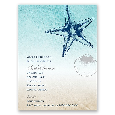 Beach Romance - Sterling - Bridal Shower Invitation