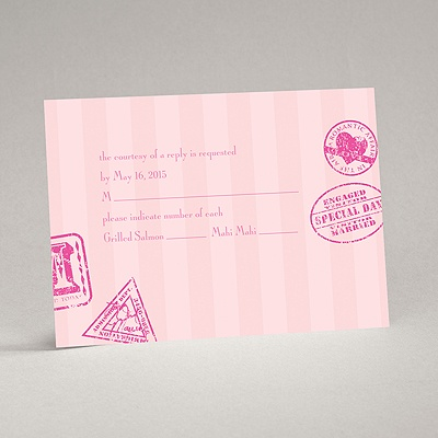 Passport to Romance - Pink - Response Card and Envelope
