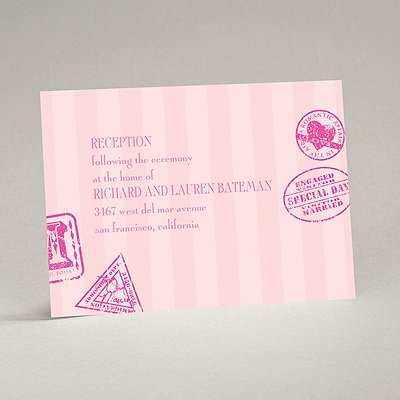 Passport to Romance - Pink - Reception Card
