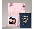 Passport to Romance - Pink - Save the Date Card