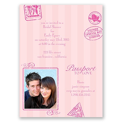 Passport to Romance - Pink - Bridal Shower Invitation