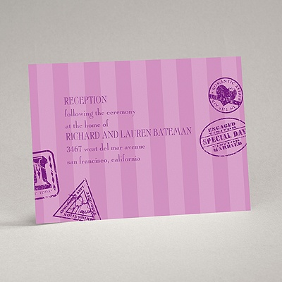 Passport to Romance - Purple - Reception Card