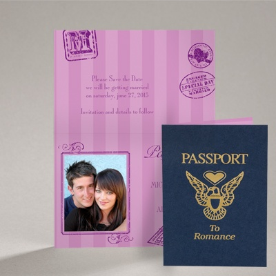 Passport to Romance - Purple - Save the Date Card