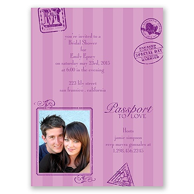 Passport to Romance - Purple - Bridal Shower Invitation
