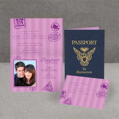 Passport to Romance - Purple - Invitation