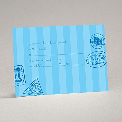 Passport to Romance - Blue - Response Card and Envelope