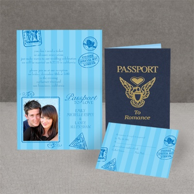 Passport to Romance - Blue - Invitation