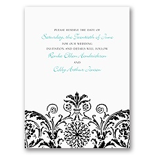 Vintage Damask - Black - Save the Date Card