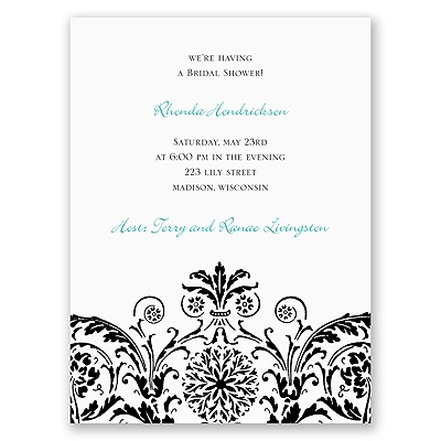 Vintage Damask - Black - Bridal Shower Invitation