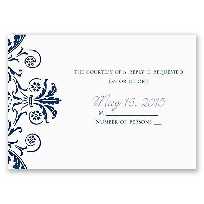 Vintage Damask - Navy - Response Card and Envelope