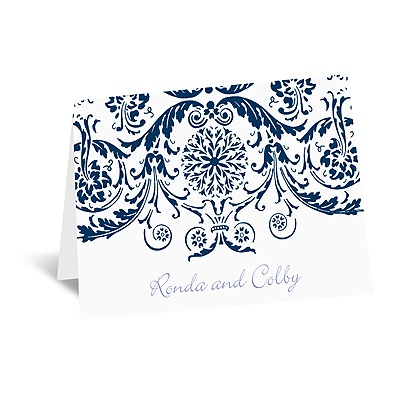 Vintage Damask - Navy - Thank You Card and Envelope