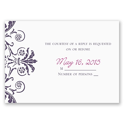 Vintage Damask - Purple - Response Card and Envelope