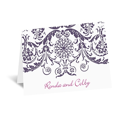 Vintage Damask - Purple - Thank You Card and Envelope