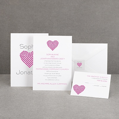 Heart of My Heart - Fuchsia Invitation