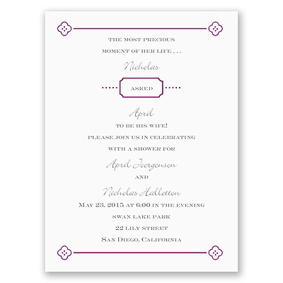 Fun Frame - Purple - Bridal Shower Invitation