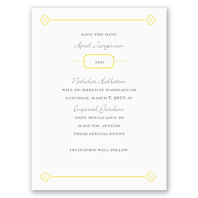 Fun Frame - Yellow - Save the Date Card