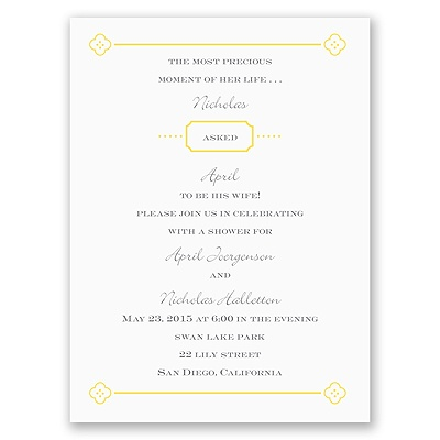 Fun Frame - Yellow - Bridal Shower Invitation