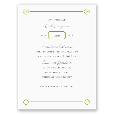 Fun Frame - Green - Save the Date Card