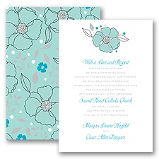 Tropical Flowers - Aqua - Invitation