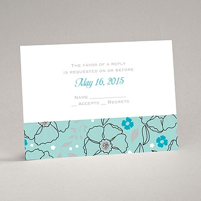 Tropical Flowers - Aqua - Response Card and Envelope