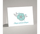 Tropical Flowers - Aqua - Thank You Card and Envelope
