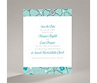 Tropical Flowers - Aqua - Save the Date Card