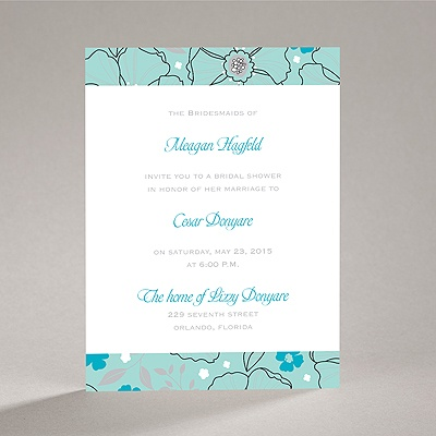 Beach Wedding Shower Invitations on Bridal Shower Invitations    Tropical Flowers   Aqua   Bridal Shower