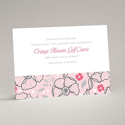 Tropical Flowers - Cotton Candy - Reception Card
