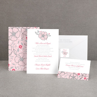 Tropical Flowers - Cotton Candy - Invitation